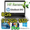 Notebook HP EliteBook 840 G1 Core i5-4300U 4Gb 180Gb SSD 14' HD+ Windows 7/8 Pro G6K71EC 3Y