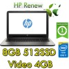 Notebook HP 15-bs117nl Core i7-8550U 8Gb 512SSD 15.6' FHD AMD Radeon 530 4GB Windows 10 HOME