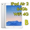 iPad Air 2 64Gb Argento WiFi Cellular 4G 9.7' Retina Bluetooth Webcam(Seconda Generazione) MGHY2TY/A [Grade B]