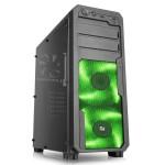 CABINET ATX MIDDLE TOWER GAMING iTEK Mod SWOOP GREEN NoAlim 7slot PCI 1xUSB3 2xUSB2 Colore NERO 2xFanGreenLed