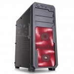 CABINET ATX MIDDLE TOWER GAMING iTEK Mod SWOOP RED NoAlim 7slot PCI 1xUSB3 2xUSB2 Colore NERO 2xFanRedLed (ITG