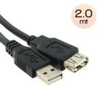CAVO USB2.0 A-A M/F 2Mt  ATLANTIS P019-C161-AMAF-2 Prolunga NERO  connettore tipo A maschio/A femmina EAN 8026