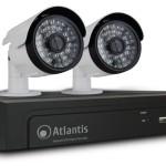 KIT VIDEOSORVEGLIANZA IP ATLANTIS A11-NVR08-KIT 8 canali+2 Telec.1MPixel IP-66 Ottica fissa 2.8mm-Applic.Iphon
