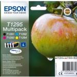 MULTIPACK EPSON Mela C13T12954010/12 1 NERO T129140 +3 COLOR T129240/340/440 SX420W-BX305F-BX320FW TAGLIA L