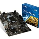 MB MSI B250M PRO-VD LGA1151 B250 2D4DC-2133 VGA+DVI+1PCIEX16 3.0 2PCIEx1  6SATA3+1xM.2 6USB3.1 6USB2 GLAN mATX