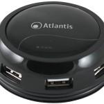 HUB USB2.0 7P ATLANTIS P014-GH902-B NERO LUCIDO con ALIMENTATORE AC e CAVO AVVOLGIBILE - EAN 8026974014050 -GA