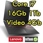 Notebook Lenovo IdeaPad Y50-70 Core i7-4710HQ 16Gb 1Tb 15.6' UHD NVIDIA GeForce GTX860M 4Gb Windows 10 1Y