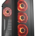 SHARKOON TG5 GLASS RED 2X U2, 2X U3, TEMPERED GLASS, 4X 120 LED