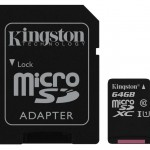 KINGSTON SDCS/64GB 64GB CANVAS MICRO SDXC 80R CL10 UHS-I + SD ADAP.
