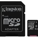 64GB CANVAS MICRO SDXC 80R CL10 UHS-I + SD ADAP.