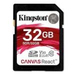 KINGSTON SDR/32GB 32GB SDHC CANVAS REACT 100R/70W CL10 UHS-IU3 V30A1
