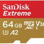 SANDISK SDSQXA2-064G-GN6MA 64GB EXTREME MICROSDXC 160MB/S A2 C10 V30 UHS-IU3