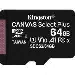 KINGSTON SDCS2/64GB 64GB MICSDXC CANVAS SELECT PLUS 100R A1 C10 + ADP