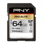 NVIDIA BY PN P-SD64GU3100PRO-GE 64GB PNY SD PRO ELITE CLASS 10 UHS-I U3 100-90MB/S