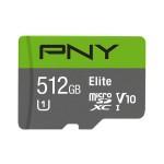 NVIDIA BY PN P-SDU512U190EL-GE 512GB PNY MICROSD ELITE  100MB/S C10 U1 + SD ADAP.