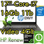 Notebook HP ENVY 17-n106nl Core i7-6700HQ 16Gb Ram 1Tb 17.3' FHD Nvidia GeForce 950M 4GB Windows 10 T8S44EA 1Y