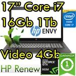 Notebook HP ENVY 17-n106nl Core i7-6700HQ 16Gb Ram 1Tb SSD 128GB 17.3' FHD Nvidia GeForce 950M 4GB Windows 10