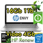 Notebook HP ENVY 15-ae100nl Core i7-6500U 16Gb 1Tb 15.6' FHD NVIDIA GeForce GTX950M 4GB Windows 10 1Y
