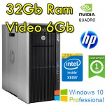 Workstation HP Z820 Xeon E5-2690 v2 3.0GHz 25Mb Cache 32Gb RAM 512Gb SSD NVIDIA QUADRO 6000 6Gb Windows 10 Pro