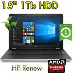 Notebook HP 15-bw033nl AMD A9-9420 8Gb 1Tb 15.6' HD LED DVD Webcam Windows 10 HOME