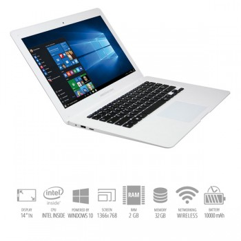 Mediacom SmartBook 14 S140 1.33GHz Atom Z3735F 2Gb 32Gb 14' 1366 x 768pixels White Windows 10 HOME