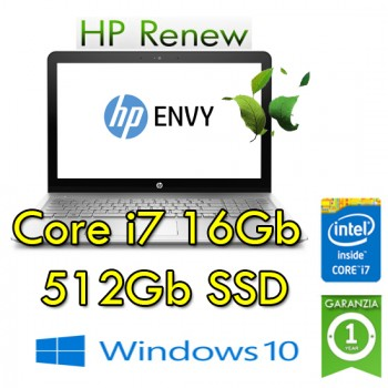 Notebook HP ENVY 15-as000nl Core i7-6500 2.5GHz 16Gb 512Gb SSD 15.6' FHD BV LED Windows 10 HOME