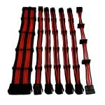 SET 7 PROLUNGHE DA 30 CM NYLON ROSSO/NERO: 24Pin, 4+4Pin, 4 x PCI-E 6+2, 4 x SATA
