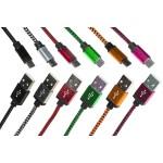 KIT 6 CAVI MICRO USB MT 1 GUAINA INTRECCIATA COLORE NERO, BIANCO/NERO, ROSSO, BLU, VERDE, ARANCIONE, ROSA