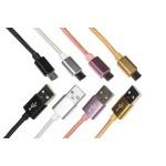 KIT 4 CAVI MICRO USB MT 1 GUAINA INTRECCIATA NYLON FINO A 2 AMPERE COLORE BIANCO, NERO, ROSA, ORO