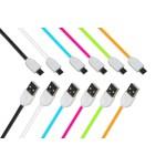 KIT 6 CAVI PIATTI MICRO USB GUAINA SILICONE MT 1 COLORI NERO, BIANCO, BLU, ROSA, VERDE, ARANCIONE