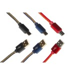 KIT 3 CAVI PIATTI MICRO USB GUAINA JEANS MT 1 FINO A 2 AMPERE COLORI ROSSO, NERO, BLU DENIM