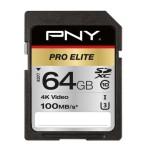 NVIDIA BY PNY P-SD64GU3100PRO-GE 64GB PNY SD PRO ELITE CLASS 10 UHS-I U3 100-90MB/S