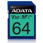 ADATA TECHNOLOGY B.V. ASDX64GUI3V30S-R ADATA SDXC 64GB UHS-I U3 V30S 100-75MB/S