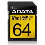 ADATA TECHNOLOGY B.V. ASDX64GUII3CL10-C ADATA SDXC 64GB UHS-II U3 C10 V90 290-260MB/S