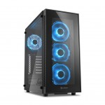 SHARKOON TG5 GLASS BLUE 2XU2. 2XU3. VETRO TEMPERATO. 4X120 LED